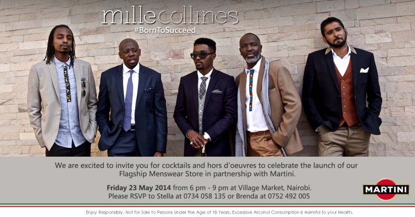 Mille Collines in partnership with Martini  will officially open a flagship  Men's wear store at the Village Market  Friday 23rd May.