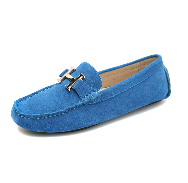 Hermes Boat Shoes H Buckle Loafer Shoes 2012 Suede Blue