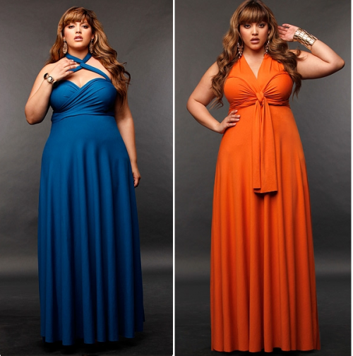 Monif-C-Plus-Size-Clothing-Marilyn-Long-Convertible-Dress-20-Peacock-Blue-AND-Marilyn-Long-Convertible-Dress-20-Tangerine-500x504
