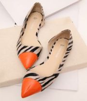 orange and zebra pointed shoes